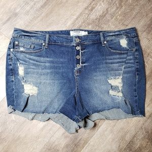 Torrid Button Fly Ripped Cut Off Jean Shorts - 26